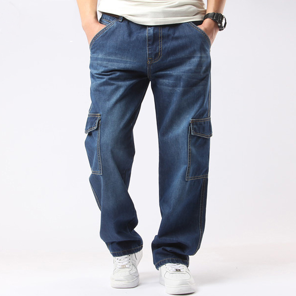 Mens Casual Blue Jeans Denim Multi-pocket Loose Outdoor Straight Legs Cargo Pants plus size xxl xxxl new 2014 spring casual jumpsuits women loose cotton denim overalls solid pocket denim straight rompers h2533