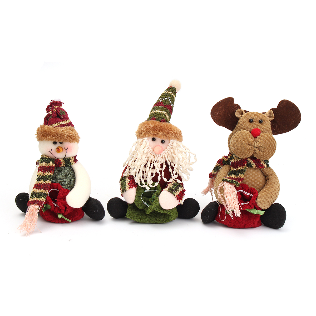 Christmas Candy Bag Tree Decor Ornaments Xmas Decor Santa Claus Snowman Reindeer - Photo: 2