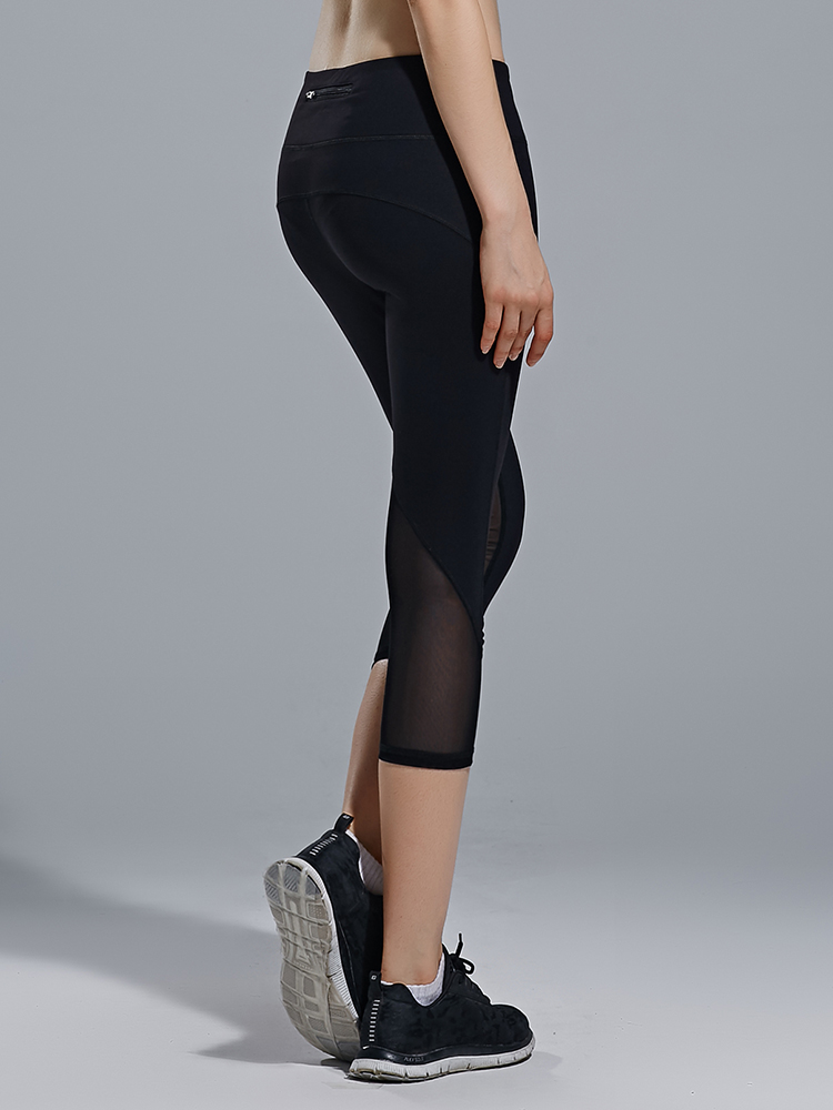 9bafb095887127 Black Women Mesh Patchwork Tight Yoga Running Fitness Capri Leggings ...