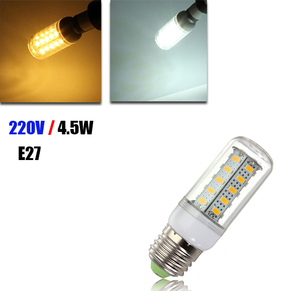 E27 LED 4.5W 36 SMD 5730  Warm White/White Cover Corn Light Lamp  LED Bulb AC 220V gc g9 2 5w 36x2835 smd led 220lm 3000k warm white light corn bulb ac 200 240v