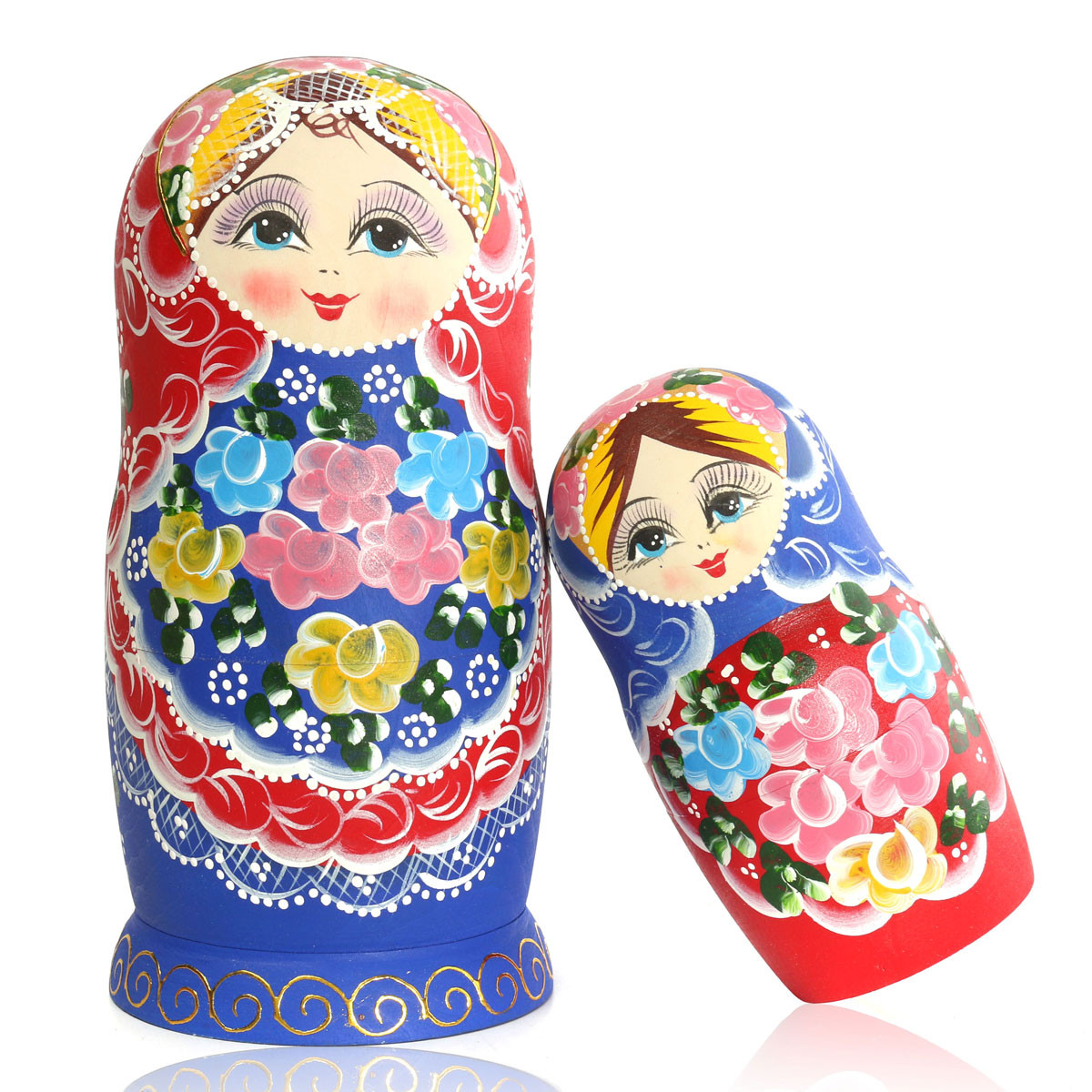 matryoshka set of 7 nesting dolls madness russian wooden