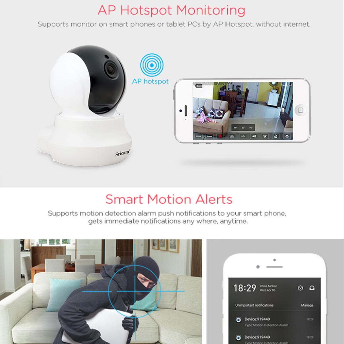 Sricam SP020 Wireless 720P IP Camera Pan&Tilt Home Security PTZ IR Night Vision WiFi Webcam 18
