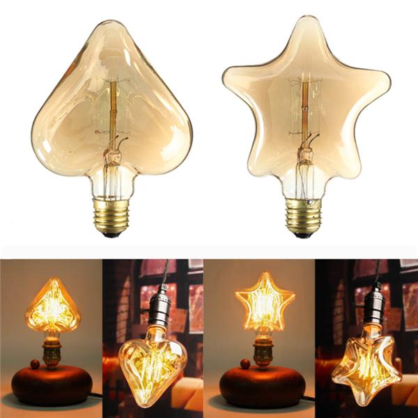 Toiles de la lampe vintage r tro coeur ampoule de forme kingso 220v e27 40w edison filament - La lampe a incandescence ...
