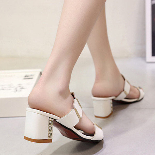 Summer Women Heeled Sandals Comfortable Fashion Slip On Casual Beach Slipper Shoes