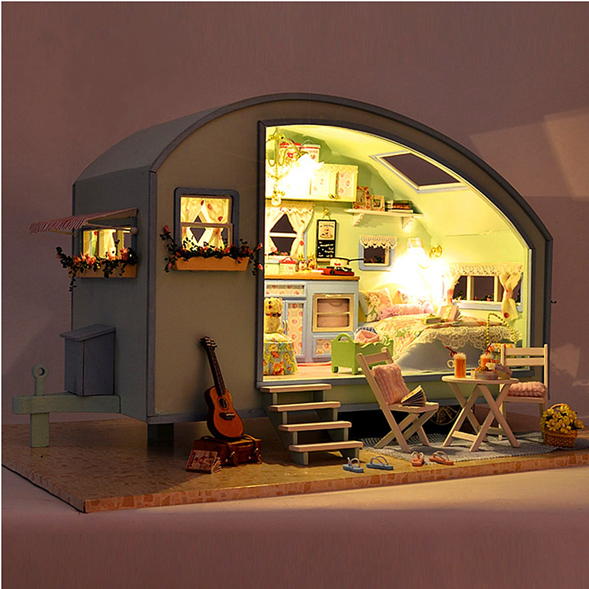cuteroom diy wooden dollhouse miniature kit doll house led. Black Bedroom Furniture Sets. Home Design Ideas