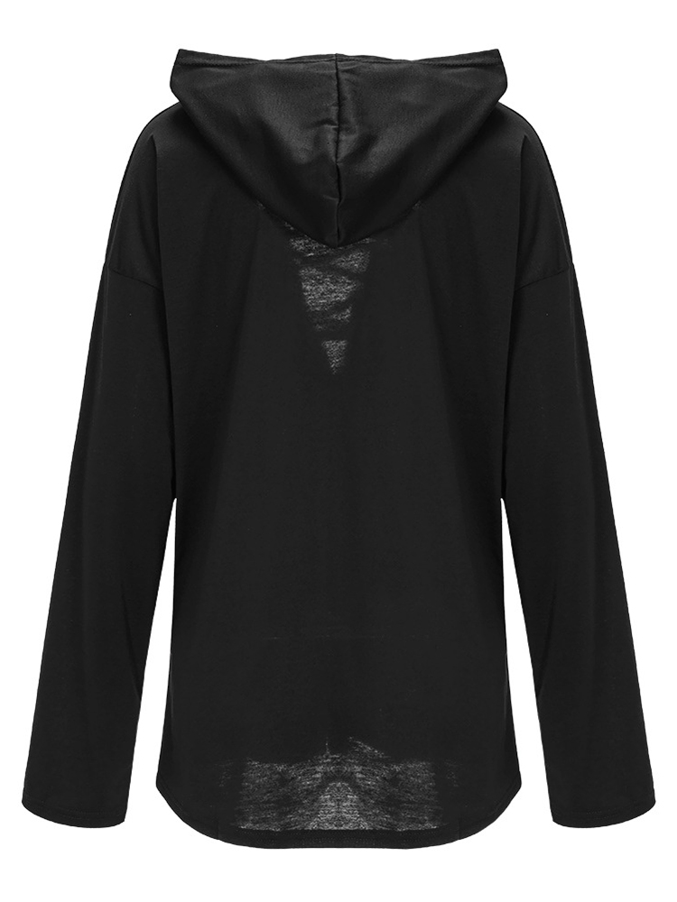 Casual Women Long Sleeve Deep V Neck Lace Up Hoodie