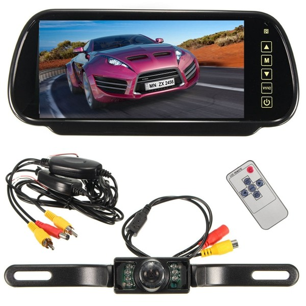 Wireless 7Inch LCD Mirror Monitor + IR Car Rear View Reversing Camera Backup Kit