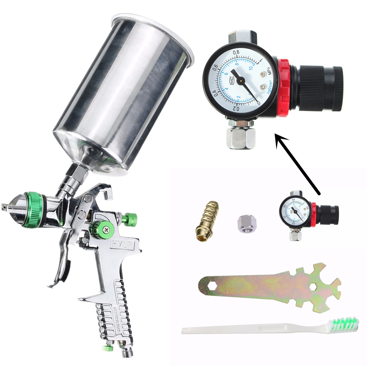 2.5mm 600cc HVLP Gravity Feed Spray Gun Kit Auto Paint Primer Metal Flake with Regulator