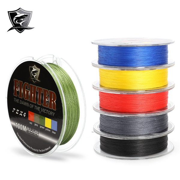 Fighter Brand 100M Multifilament PE Braided Fishing Line 4 Stands 8-60LB Fishing Line