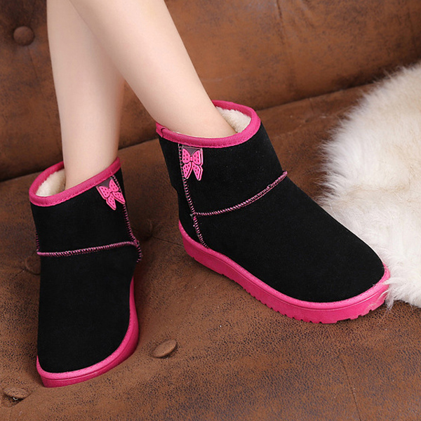 Butterfly Decoration Slip On Warm Faux Fur Lining Ankle Snow Boots