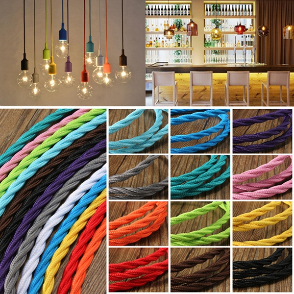 1m Vintage Colored DIY Twist Braided Fabric Flex Cable Wire Cord Electric Light Lamp vintage multiple adjustable diy ceiling spider lamp pendant lighting modern chic1 5 m 8pcs lamp cap