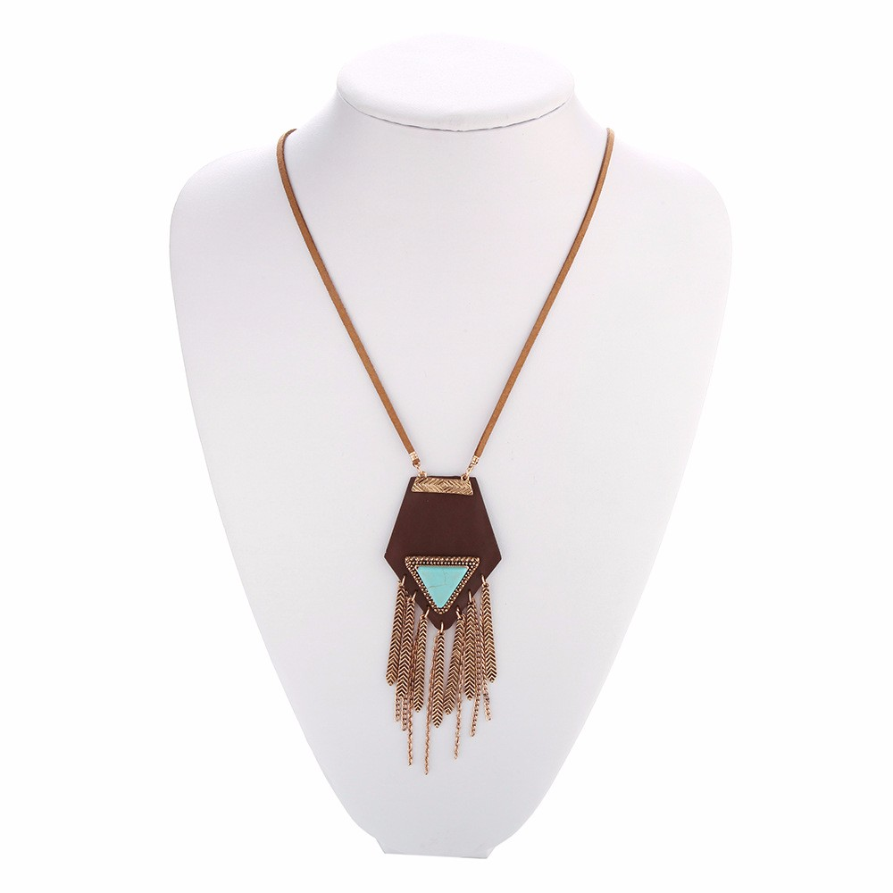 Tassel Leather Necklace Long Rope Turquoise Sweater Necklace