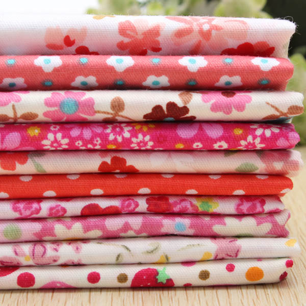 10pcs 40x50cm Cotton Red Flower Series Sewing Fabric Dolls Purse Handwork DIY Patchwork Cloths