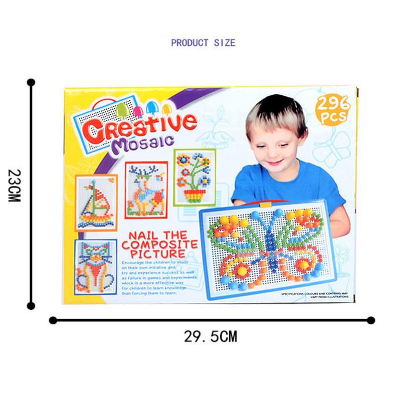 296PCS Portable Mosaic Nail Puzzle Peg Board For Kids Children Educational Toys Gift - Photo: 9