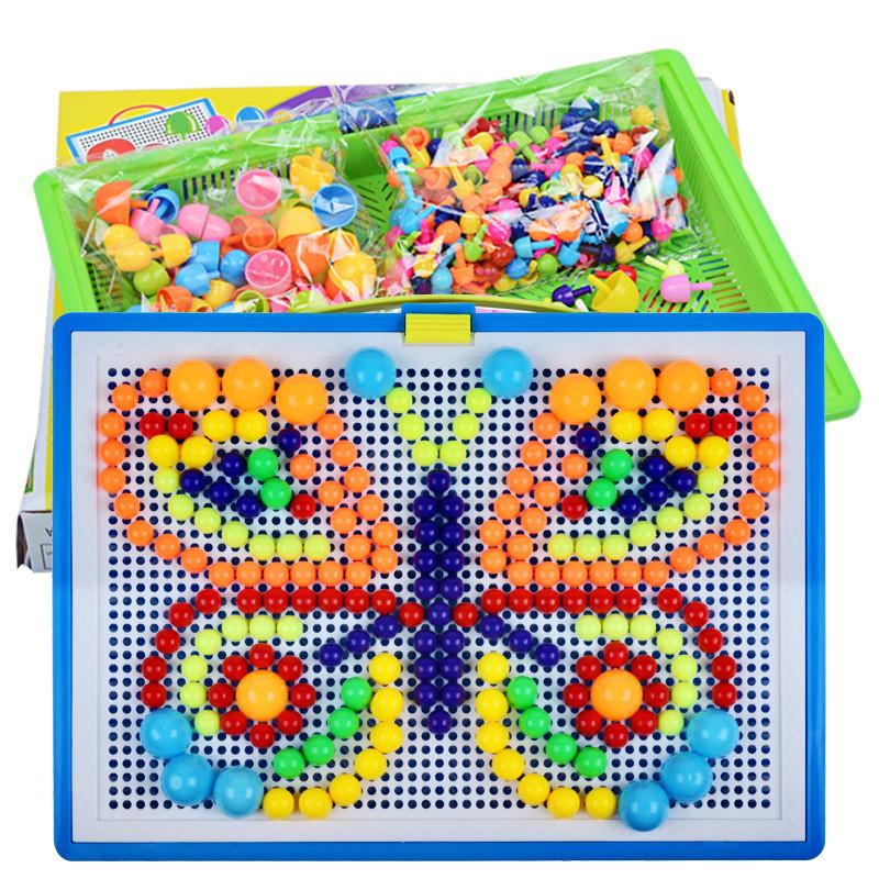 296PCS Portable Mosaic Nail Puzzle Peg Board For Kids Children Educational Toys Gift - Photo: 1