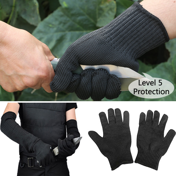 1 Pair Steel Wire Safety Anti-cutting Gloves Gardening Work Outdoor Camping Protection Tool pair of safety adjustable high impact resistance outdoor kneepad