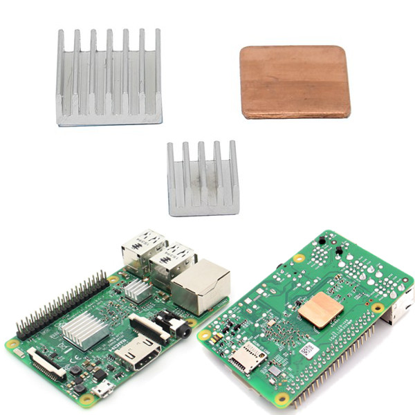 Aluminum Heat Sink Copper Heatsink For Raspberry Pi 3 Model B / Pi 2 / B+ raspberry pi 3 model b motherboard