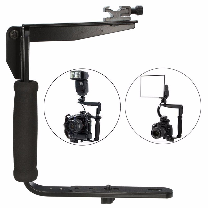 Buy Black Quick Flip Flash Bracket Grip Camera Arm Holder For Nikon Canon DSLR