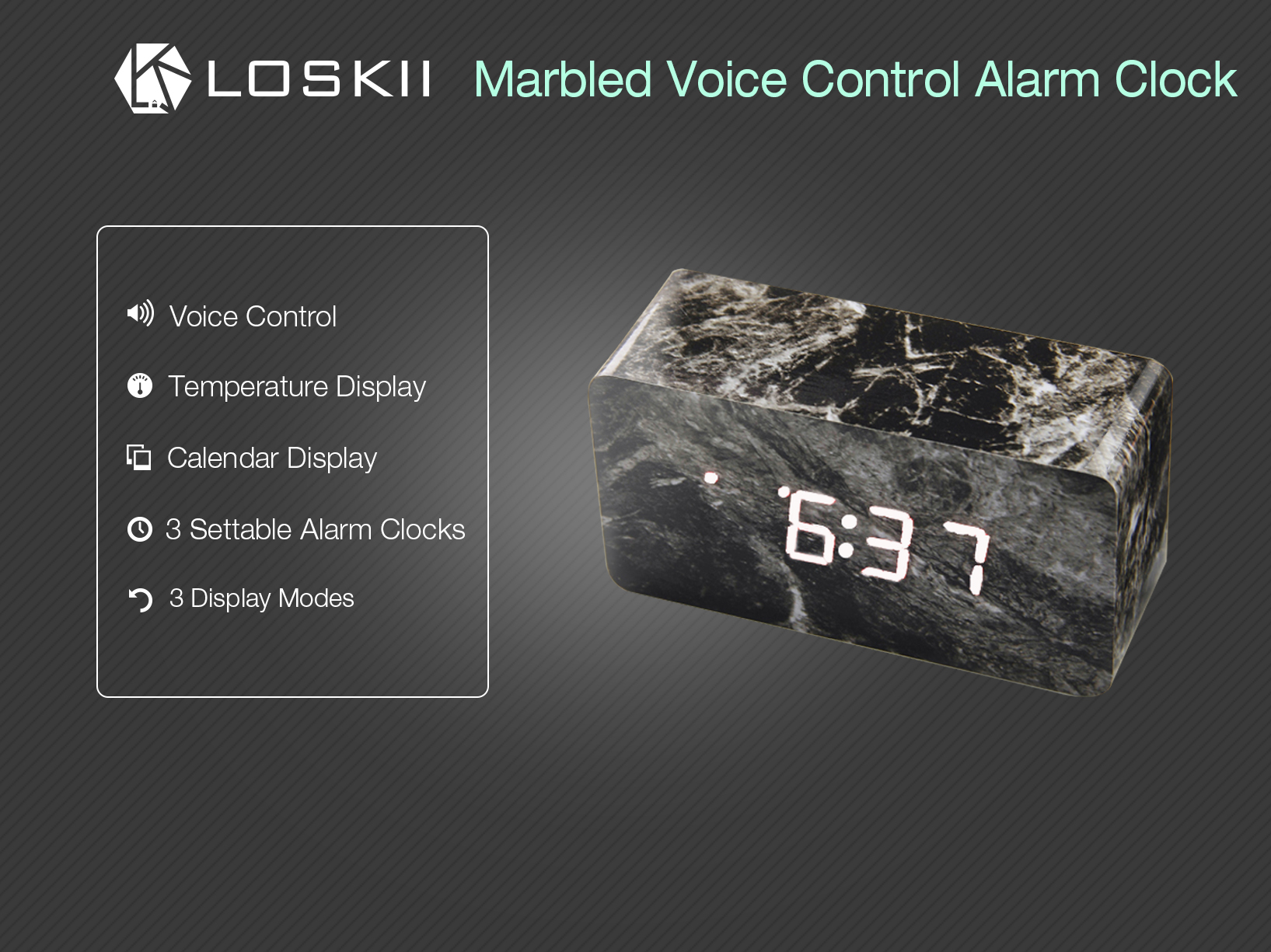 Loskii HC-21 Digital Dual Power Supply Marbled Voice Control LED Screen Display Thermometer Alarm Clock