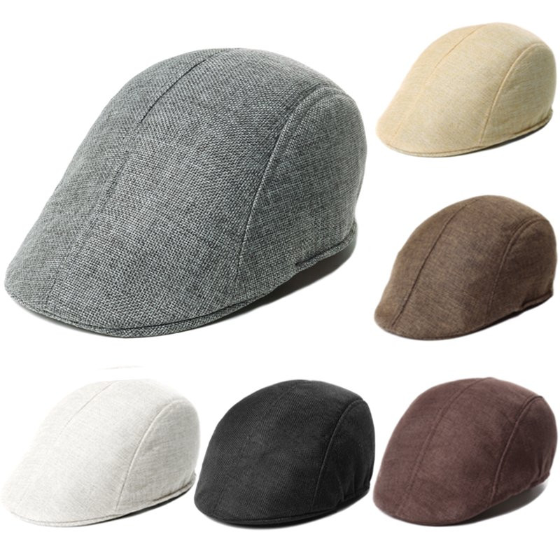 Men's Flax Breathable Peaked Cap Women's Fashion Beret Hat brushed cotton twill ivy hat flat cap by decky brown