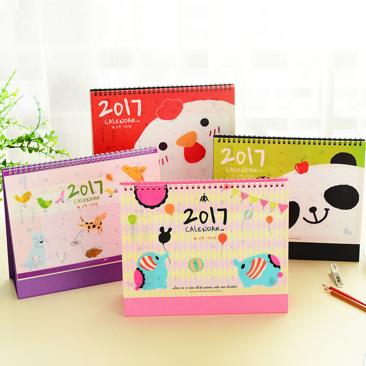 Buy 2017 Cute Cartoon Animal Desk Desktop Flip Stand Calendar Planner for Home Office