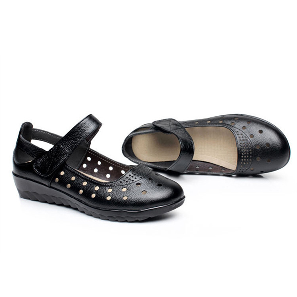 Big Size Dot Hollow Out Soft Leather Buckle Sandals Slip-on Loafers
