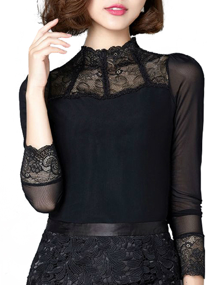 Elegant Women Black High Neck Lace Crochet Gauze Patchwork Blouse от Banggood INT