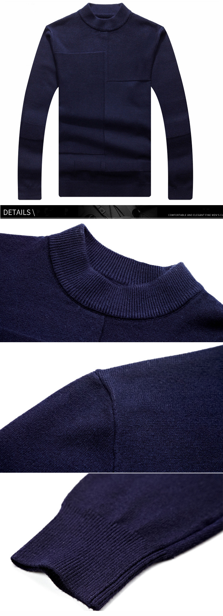 Men's Fashion Semi Solid Color Warm Knitwears