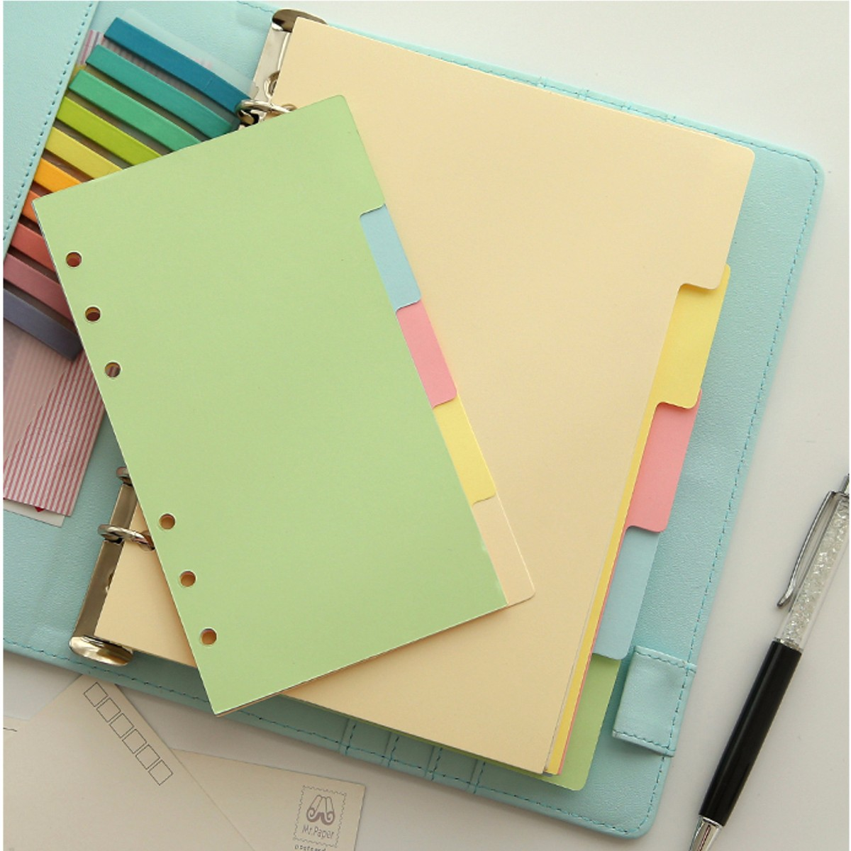 Buy A5/A6 Size Index Multi-Colored Tabs Divider Insert Refill Organiser Note Paper