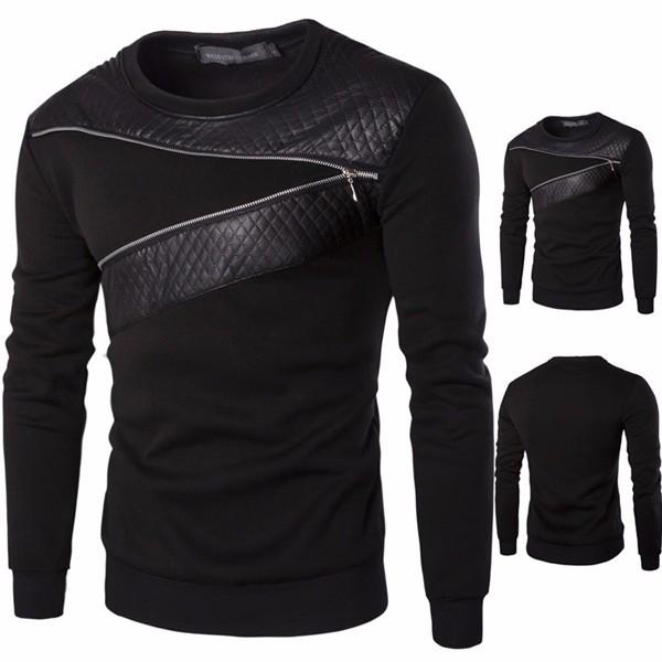 Buy Mens Casual Splicing O-neck Collar Sweatshirt Black Long Sleeve Pullover
