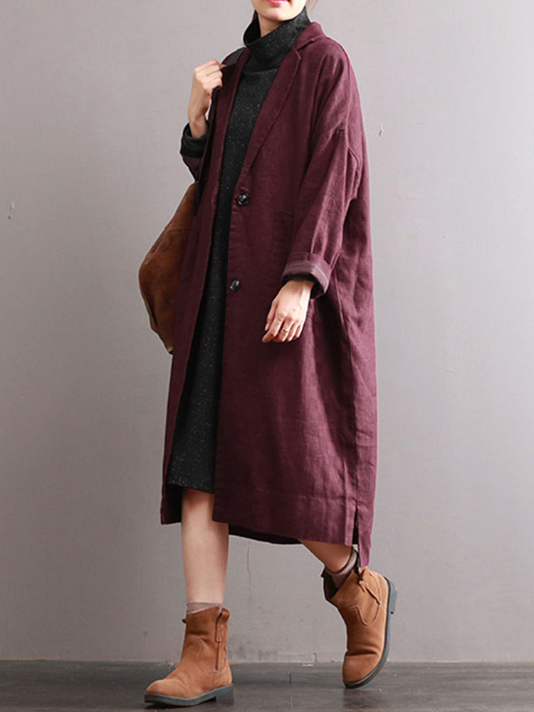 Women Lapel Long Sleeve Buttons Pockets Solid Casual Long Coat