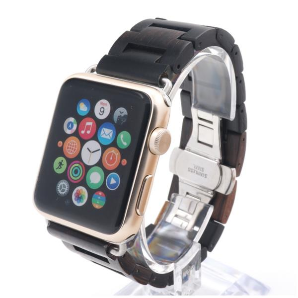 Buy Fashion Pure Wood Ultra-thin Watch Strap Wooden Band With Adapters For Apple