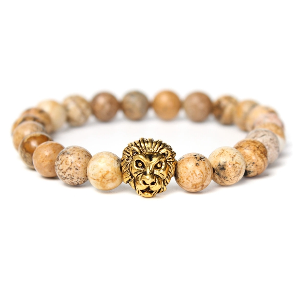 Gold Lion Head Picture Stone Alloy Bracelet от Banggood INT