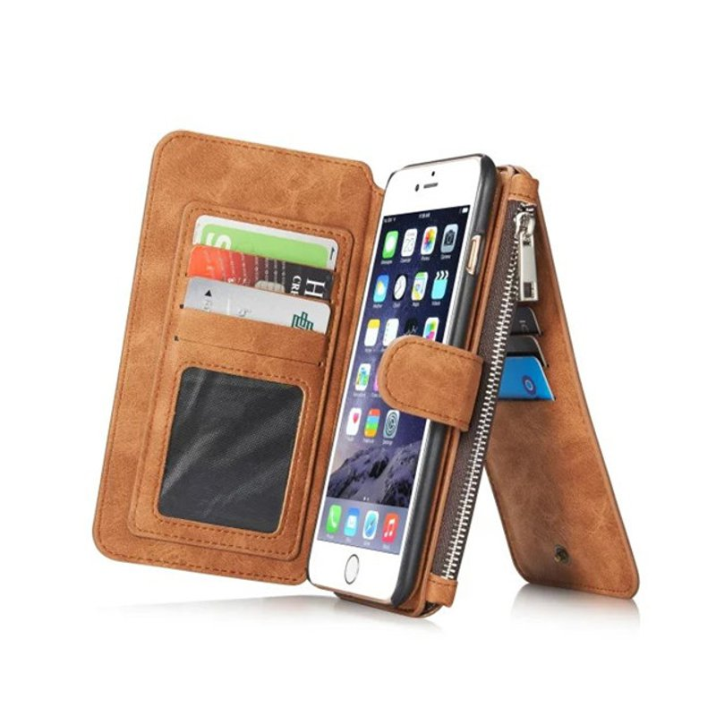 Vintage Leather Multi Function Wallet Card Pocket Zipper Flip Case Cover For Apple iPhone 6 Plus 6s Plus 5.5 floveme genuine leather pouch cover with belt loop for iphone 7 plus 6s plus 6 plus brown
