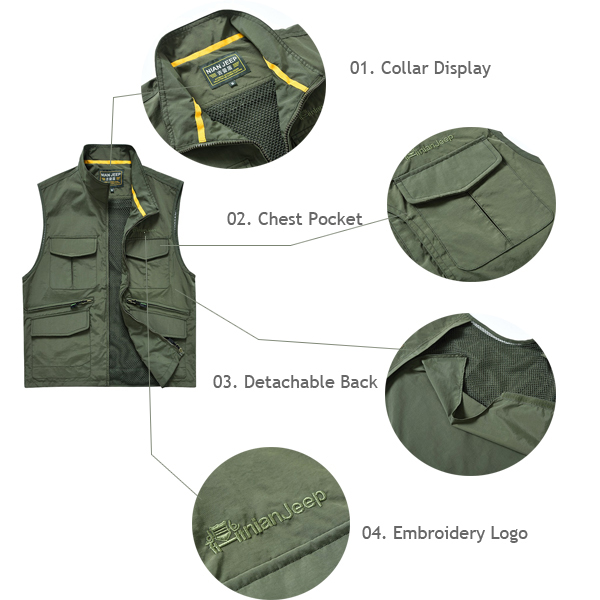 NIANJEEP Mesh Thin Vest Detachable Multi-pocket Stand Collar Solid Color Waistcoat