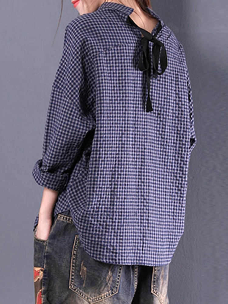 M-5XL Casual Women Back Lace-Up Casual Loose Plaid Blouse