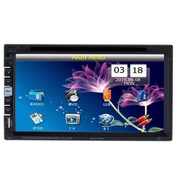6.9 Inch HD 2 Din Car Bluetooth Hands-free DVD Player Touch Screen Rear view camera With Romote Cont