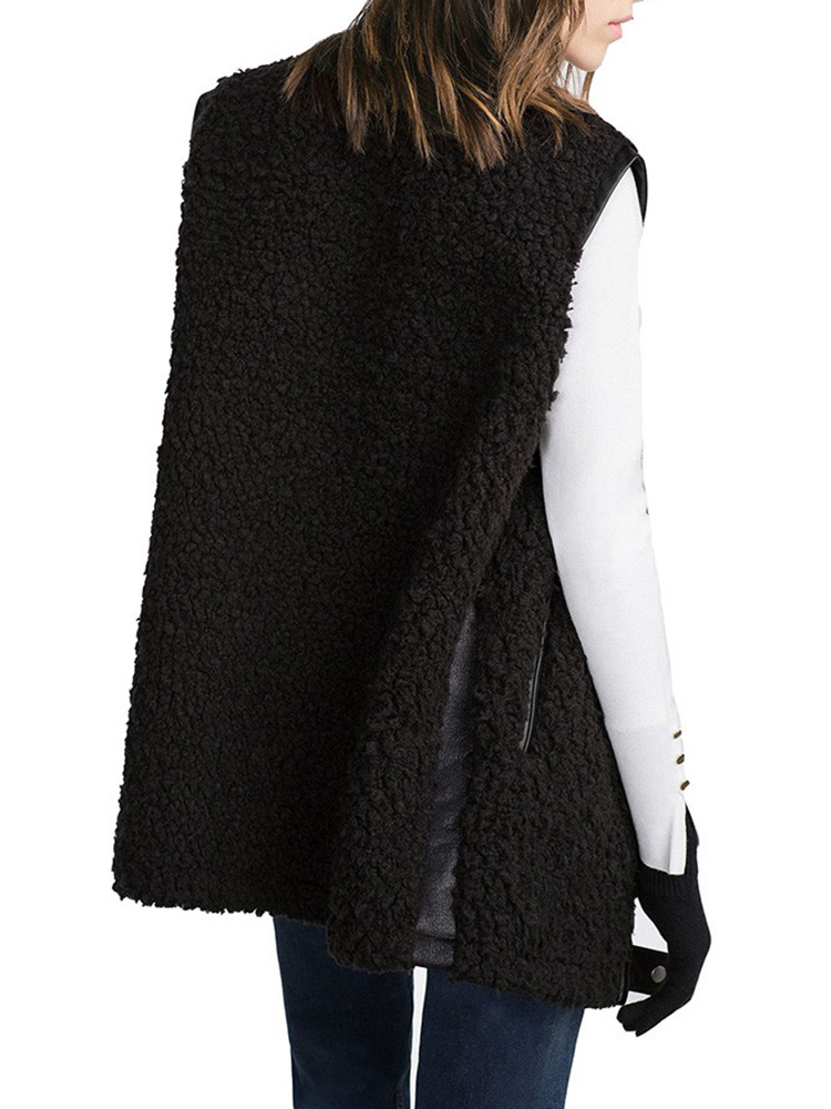 Fur Leather Patchwork Sleeveless Coat