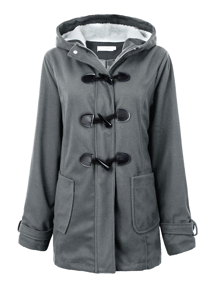 Women Casual Grey Button Hooded Coat