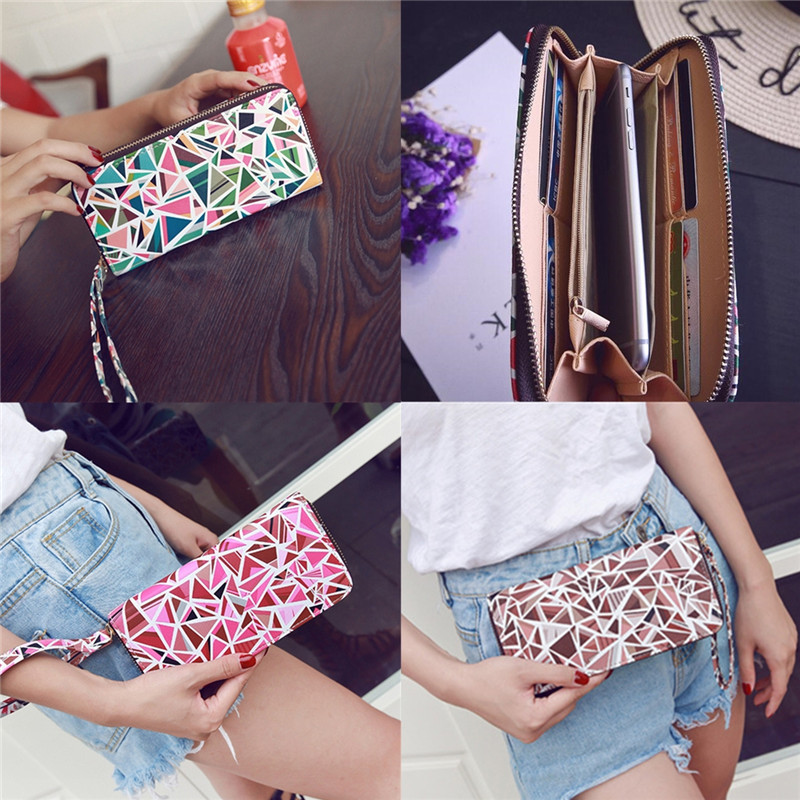 Fashion Women Functional Phone Leather Wallet Long Card Holder Case for iPhone 5.5 Inches Smartphone