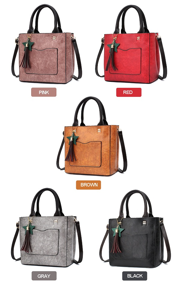 Women PU Leather With Front Pocket Tote Bag Crossbody Bag