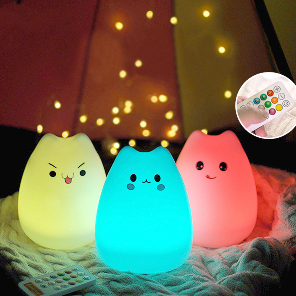 ARILUX Rechargeable Silicone 7 Colorful Cute Cat Animal USB LED Night Light Lamp + Remote Control