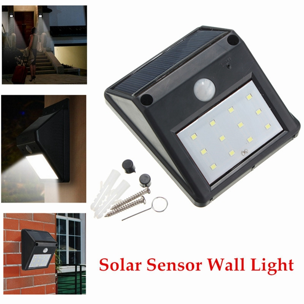 12 LED Solar Powered PIR Motion Sensor Light Outdoor Garden Security Wall Light Sale - Banggood.com