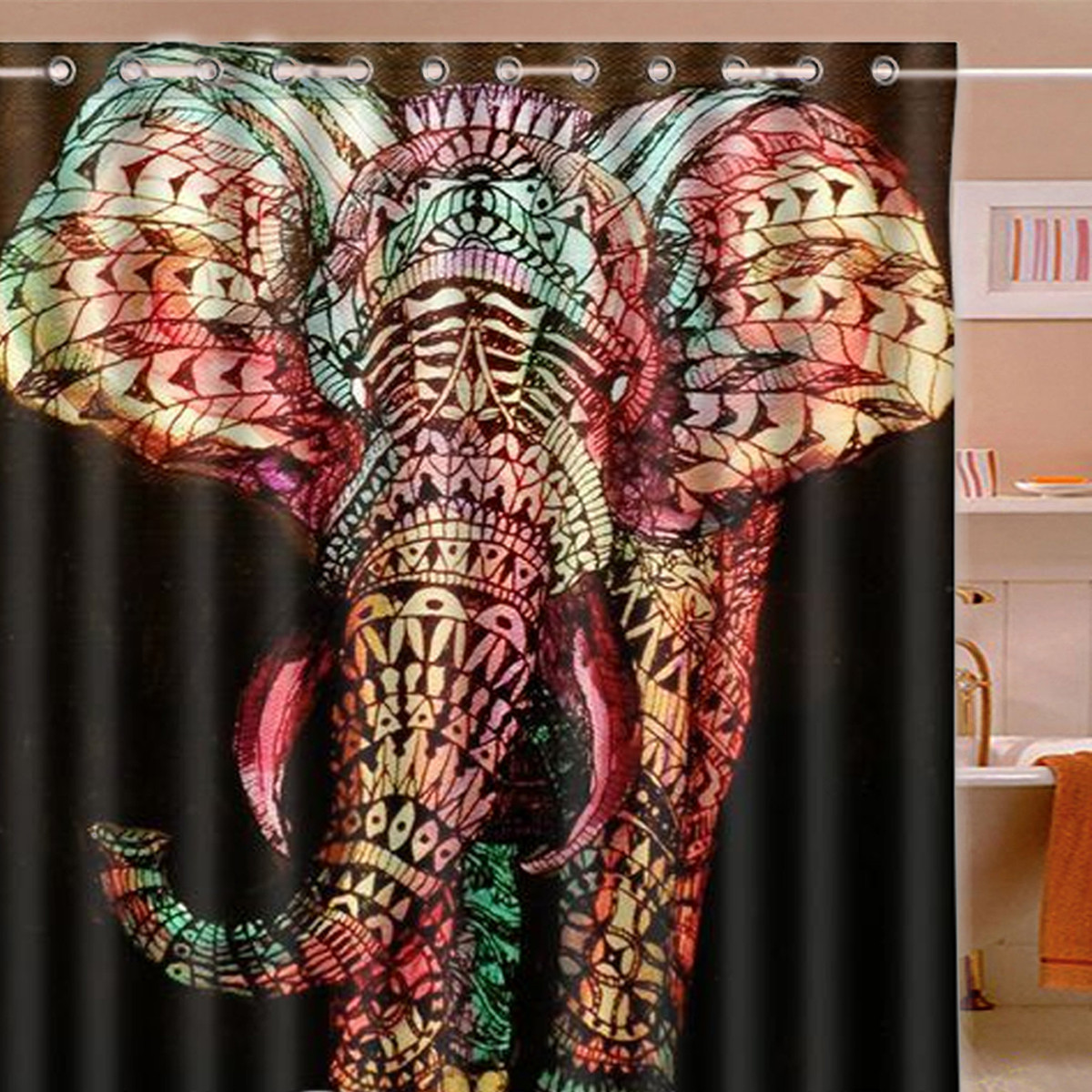 180x180cm Waterproof Colorful Elephant Polyester Shower Curtain Bathroom Decor with 12 Hooks