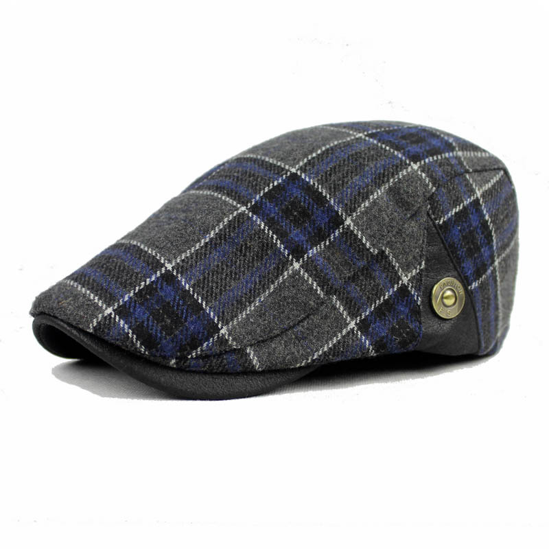 Men Male Wool Blend Newsboy Beret Cap Grid Blank Thick Flat Cowboy Cabbie Hat unsiex men women cotton blend beret cabbie newsboy flat hat golf driving sun cap