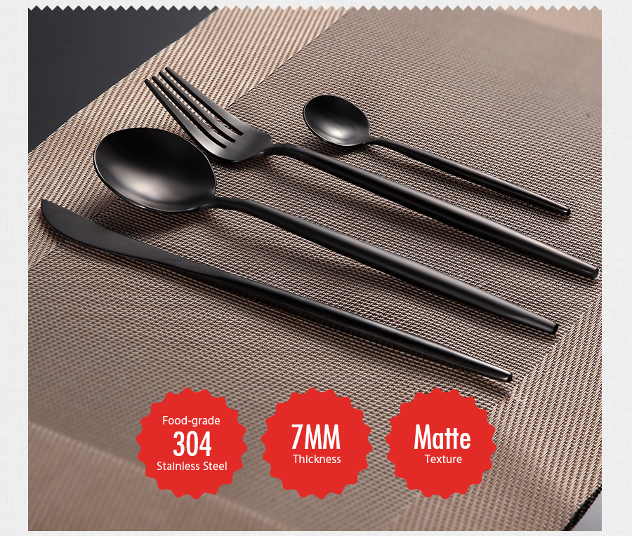 KCASA FL2 4 Pieces Food Grade 304 Stainless Steel Flatware Set Matte Dinnerware Cutlery Tableware