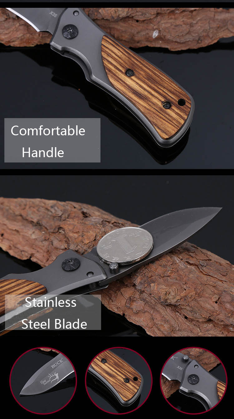 X35 150mm Stainless Steel Mini Pocket EDC Folding Knife Outdoor Camping Fishing Tactical Knife