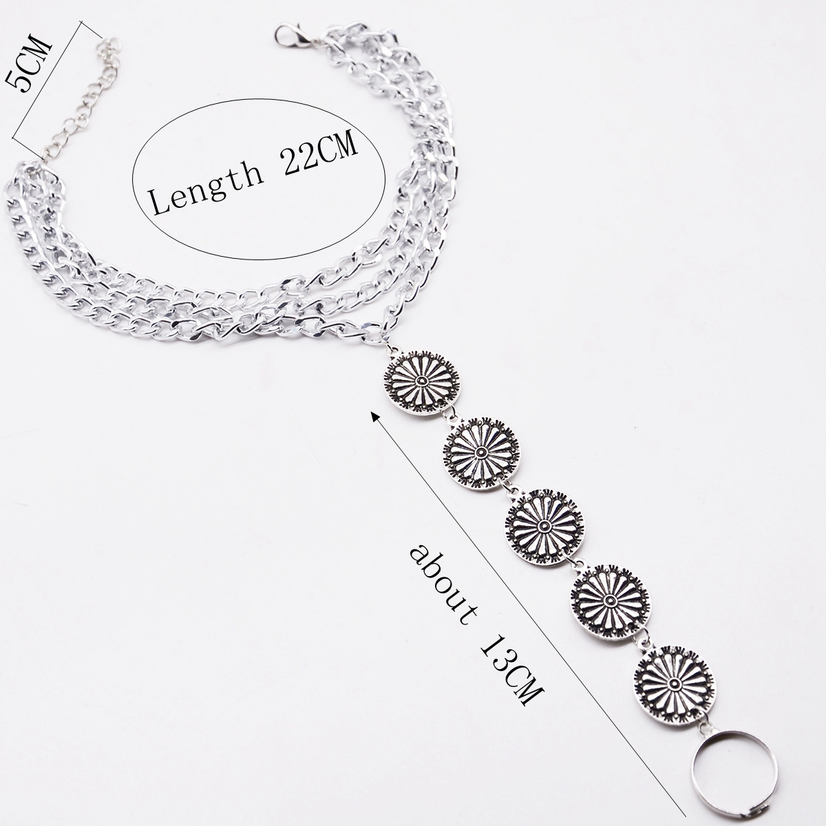 1pc Bohemia Alloy Carved Discs Triple Tassel Foot Ring Anklet