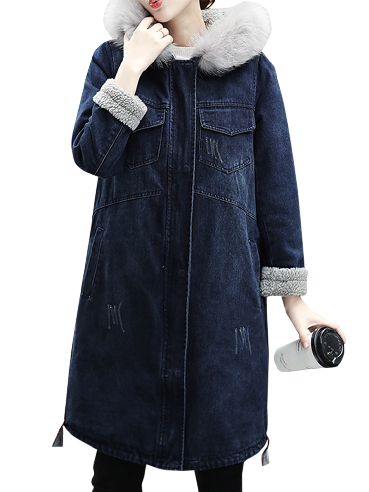 Casual Women Zipper Faux Fur Collar Fleece Lined Denim Coat