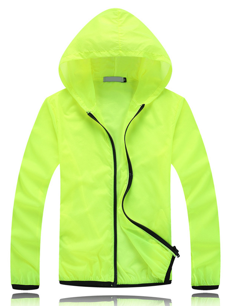 Casual Thin Zipper Transparent Sunscreen Beach Hooded Jacket For Female